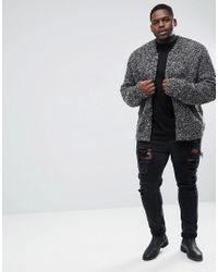 ASOS - Gray Plus Heavyweight Knitted Textured Bomber In Charcoal for Men - Lyst