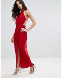 Club L Red Pleated High Neck Maxi Dress With Open Back