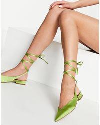 Lucent - Ballerines pointues avec liens à nouer en satin ASOS en coloris Green