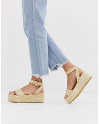 Pimkie Woven Straw Flatform Sandals In Natural