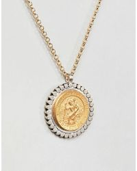 Dogeared - Metallic Gold & Silver Plated St Christopher Medallion Necklace - Lyst
