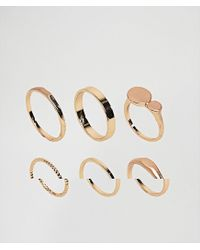 ASOS - Metallic Pack Of 6 Flat Faced And Circle Rings - Lyst