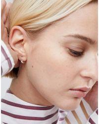 ASOS - Metallic Sterling Silver Crystal Hinged Hoop Earrings - Lyst
