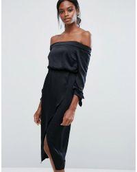 Lavish Alice Black Off Shoulder Midi Dress With Tie Sleeve