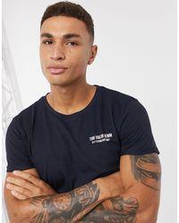 T-shirt con stampa sul petto blu navy di Tom Tailor in Blue da Uomo