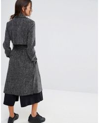 New Look Black Side Split Duster Coat