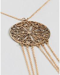 ASOS - Metallic Design Filigree Pendant Body Chain - Lyst
