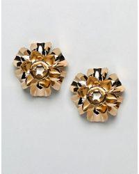 ASOS - Metallic Statement Earrings With Metal Flower Design In Gold - Lyst