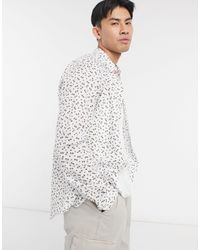 Paul Smith White Tailored Printed Long Sleeve Shirt for men