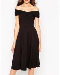 ASOS Black Midi Skater Dress With Bardot Neckline