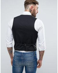 ASOS Brown Asos Skinny Vest With Patch Pocket Detail In Khaki for men