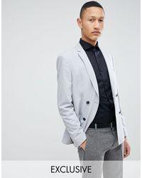 Noak – Schmaler doppelreihiger Blazer in Gray für Herren