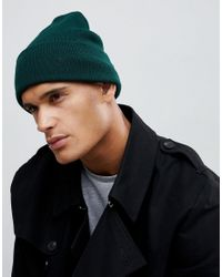 New Look Ribbed Beanie In Dark Green for men