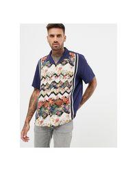 Camicia comoda blu navy a fiori con righe a spina di pesce e fettucce di ASOS in Blue da Uomo