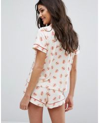 Chelsea Peers - Multicolor Out To Lunch Short Pajama Set - Lyst