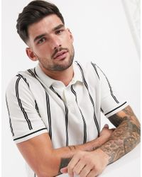 Topman White Knitted Polo With Stripe for men