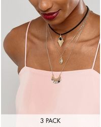ASOS | Metallic Pack Of 3 Layering Choker Charm Necklaces | Lyst