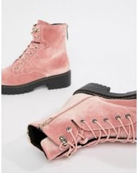 Blink Pink Chunky Hiker Ankle Boots