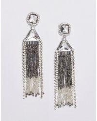 True Decadence - Metallic Rhinestone Tassel Drop Statement Earrings - Lyst