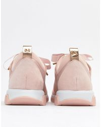 Ted Baker Pink Sporty Strap Detail Blush Suede Trainers