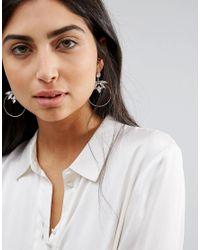 New Look Metallic Stoned Skinny Hoop Earrings