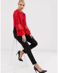 Кружевная Блузка С Расклешенными Рукавами -красный AX Paris, цвет: Red