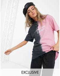 Inspired - T-shirt oversize effetto slavato con logo di Reclaimed (vintage) in Multicolor