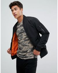 Jack & Jones - Black Core Bomber Jacket With Ma-1 Pocket for Men - Lyst