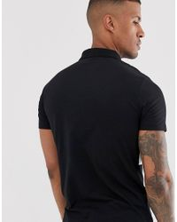 ASOS Black Polo Shirt With Contrast Body Panel for men