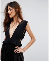 French Connection Black Angelina Plunge Neck Lace & Pleat Dress