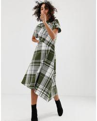 ASOS Green Asymmetric High Neck Dress