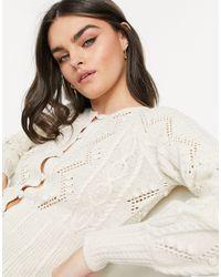 Vero Moda Natural Cable Knit Cardigan With Peplum