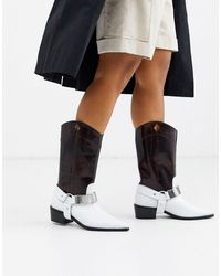 ASOS Cryptic Premium Leather Harness Western Boots-brown