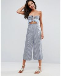 ASOS - Blue Bandeau Jumpsuit With Double Tie Detail In Stripe - Lyst