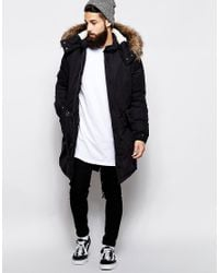 ASOS Black Fishtail Parka With Thinsulate for men