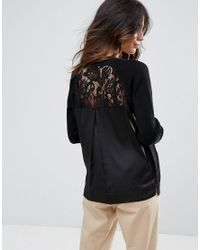 French Connection - Black Dainty Lace Back Sweater - Lyst
