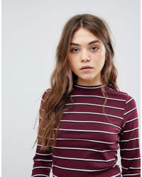 New Look Red Striped High Neck Long Sleeve Top