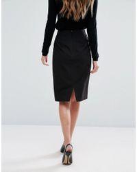New Look Black Tailored Midi Skirt