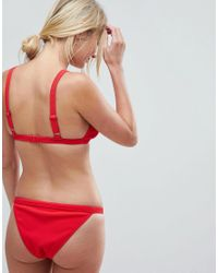 Wolf & Whistle - Red Rib Triangle Bikini Bottom - Lyst