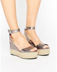 Dune   Metallic By Dune Kalmia Espadrille Flatform Sandals   Lyst