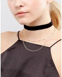 ASOS - Metallic Basic Velvet And Chain Multirow Choker Necklace - Lyst