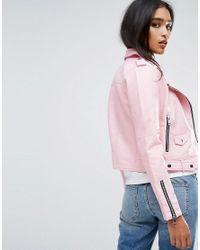 Mango - Pink Faux Leather Biker Jacket - Lyst