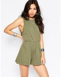 ASOS Green Drop Armhole Jersey Romper With Pom Poms