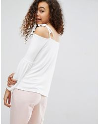 ASOS White Asos Top In Crepe With Off Shoulder And Pretty Bell Sleeve