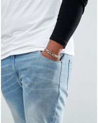 ASOS - Metallic Plus Gold Heavyweight Bracelet for Men - Lyst