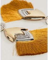 ASOS - Metallic Design Luxe Tassel Earrings - Lyst
