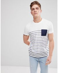 Esprit White T-shirt With Stripe And Contrast Pocket for men