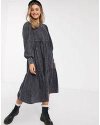 Pull&Bear Gray – Mini-Hängerkleid aus Jeansstoff,