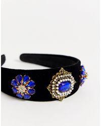 Сине-черный Декорированный Ободок На Голову -синий Ashiana, цвет: Blue