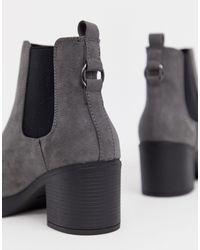 New Look Gray New Look – Klobige, breite Chelsea-Stiefel mit Absatz